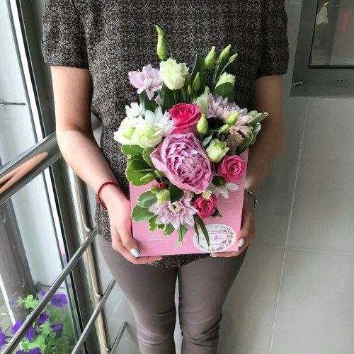 № 399  конвертик с розами и эустомой