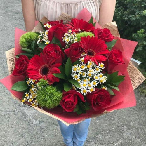 №312 букет с герберами и розами
