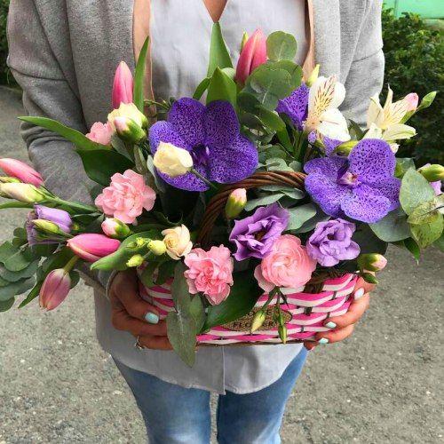 №329 корзина с орхидеями