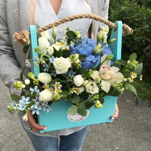 №332 ящик с гортензией и орхидеей
