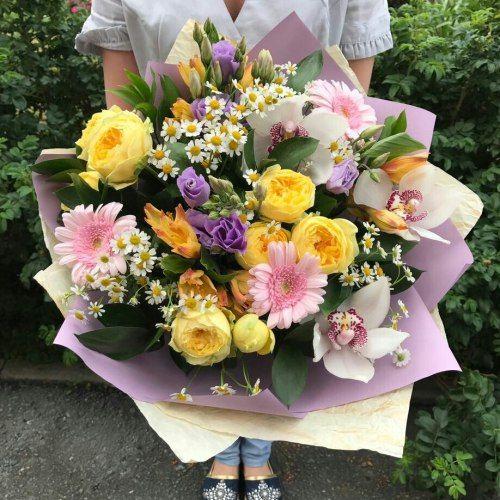 №338 букет с розами и орхидеями