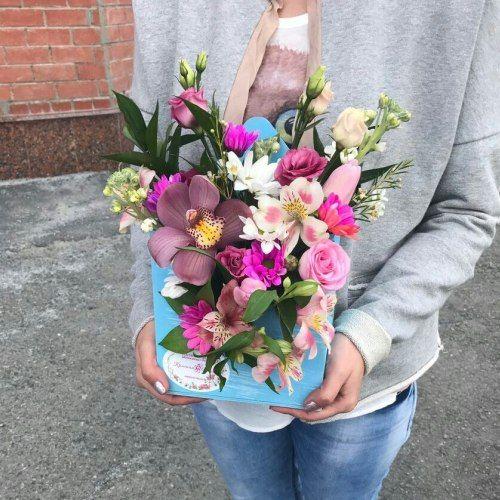 №346 конвертик с орхидеей и розами