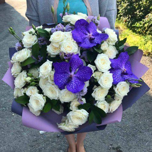 """№356 букет из роз и орхидей """"Ванда"""""""