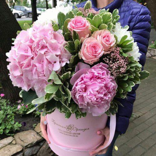 №260 букет в шляпной коробке с гортензией,пионами и розами