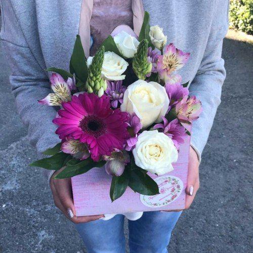 №384 конвертик с герберой и розами
