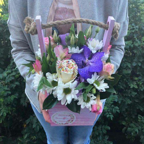 №389 ящик с шоколадной розой и орхидеей