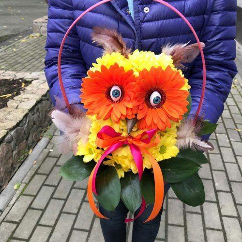 """№405 игрушка из цветов """" сова"""""""