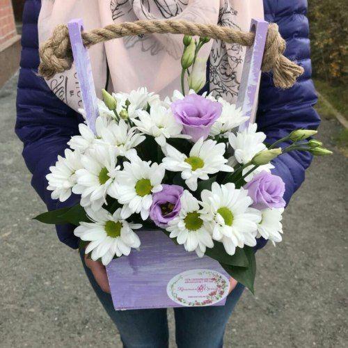 № 464 ящик с хризантемой и эустомой