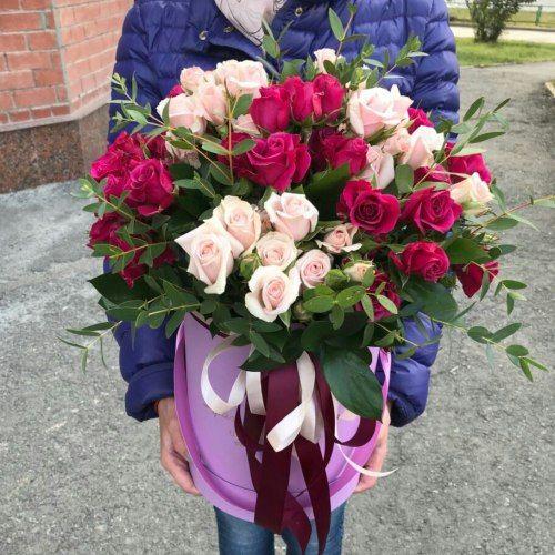 № 427 букет роз в шляпной коробке