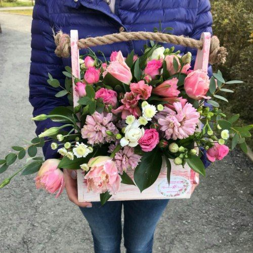 № 429 ящик с тюльпанами и гиацинтами