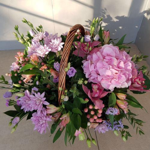 № 446 корзина с орхидеями и гортензией