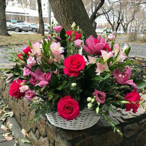 № 459 корзина из роз и орхидей