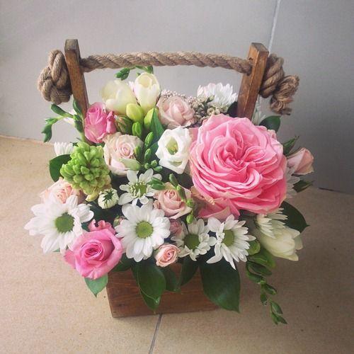 №138  ящик с розой и хризантемой
