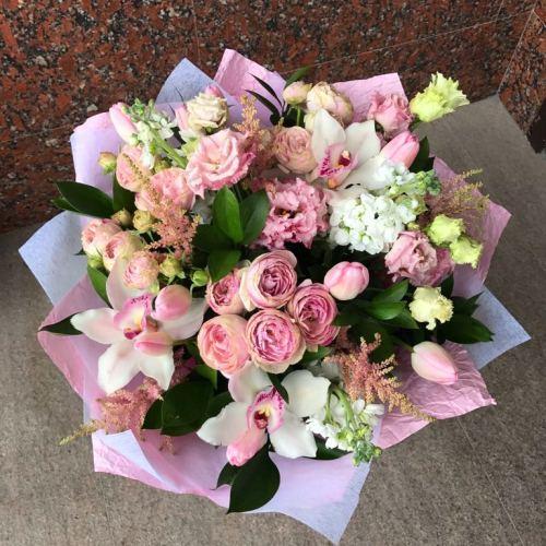 №11 букет из роз и тюльпанов