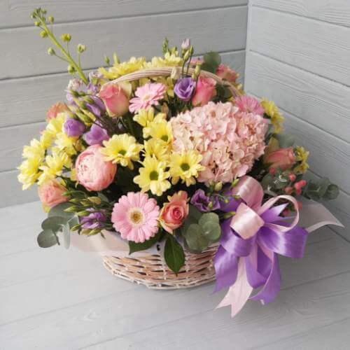 № 201 корзина с гортензией и розами