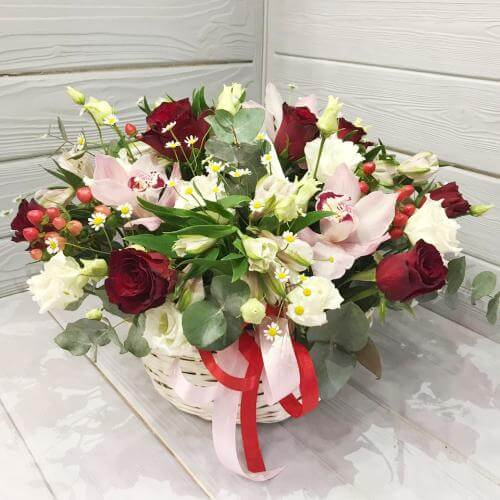 № 341 корзина с розами и орхидеей