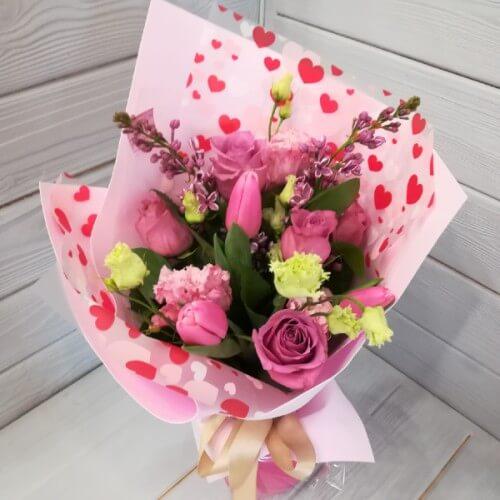 № 348 букет с розами и тюльпанами
