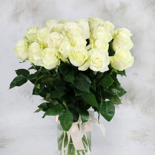 №4 акция 25 белых роз 50 см  эквадор