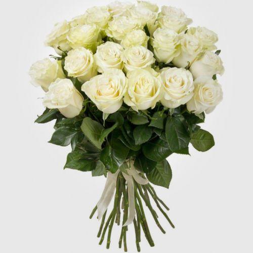 №13 акция 25 белых  роз 80-90 см  эквадор
