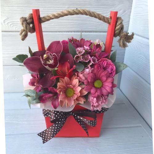 № 167 ящик с орхидеей и хризантемой
