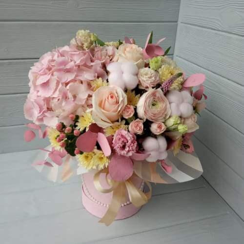 № 143 букет в шляпной коробке с гортензией розами и лютиками