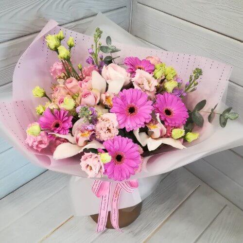 № 132 букет с герберой и орхидеями