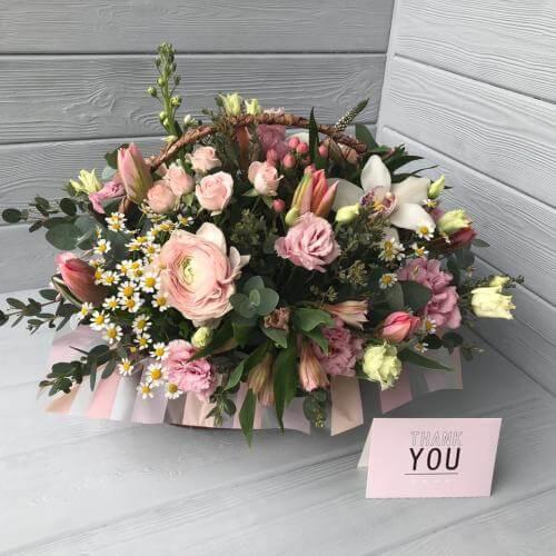 № 129 корзина с тюльпанами и лютиками