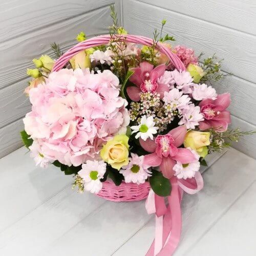 № 636 корзина с гортензией и орхидеей