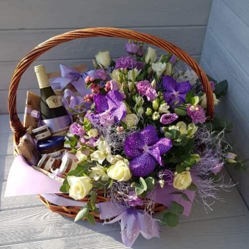 № 541 корзина с розами и орхидеями