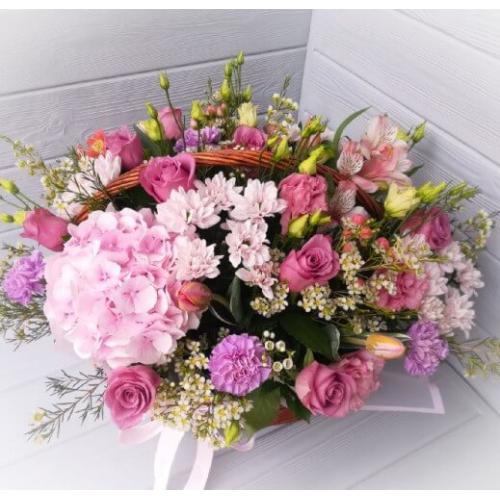 № 458 корзина с гортензией и розами