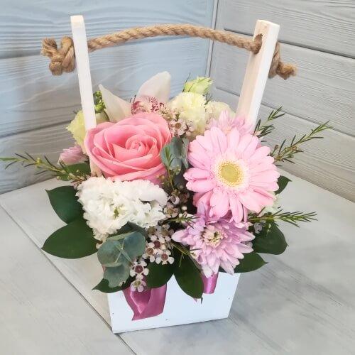 № 107 ящик с розой, герберой и орхидеей
