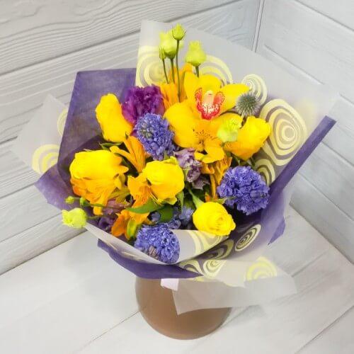 № 091 букет с гиацинтами и розой