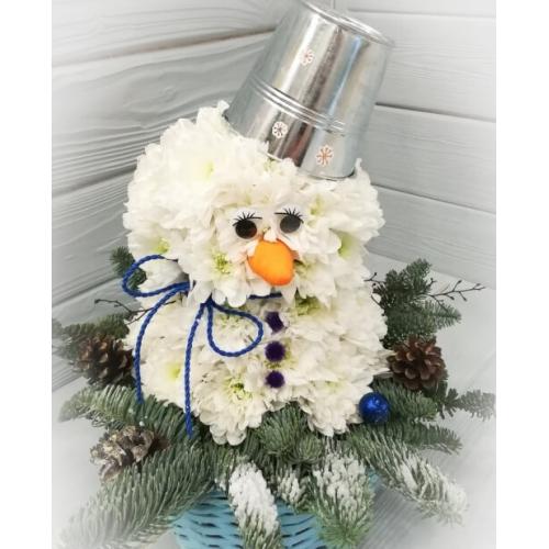 """№ 271 игрушка из цветов """"снеговик"""""""