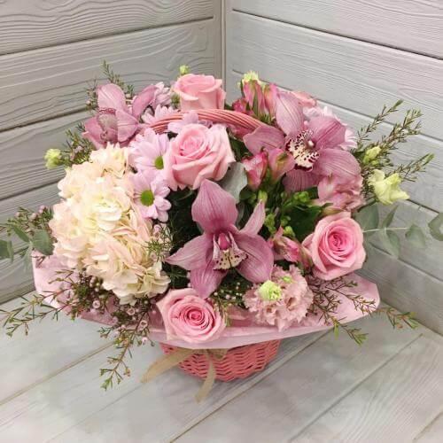 № 549 корзина с розами, гортензией и орхидеями