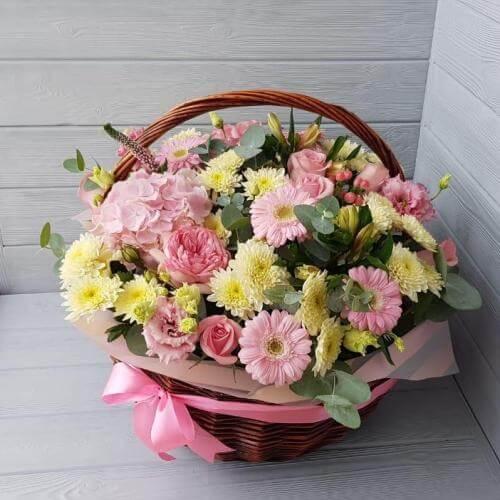 № 566 корзина с гортензией, герберами и розами