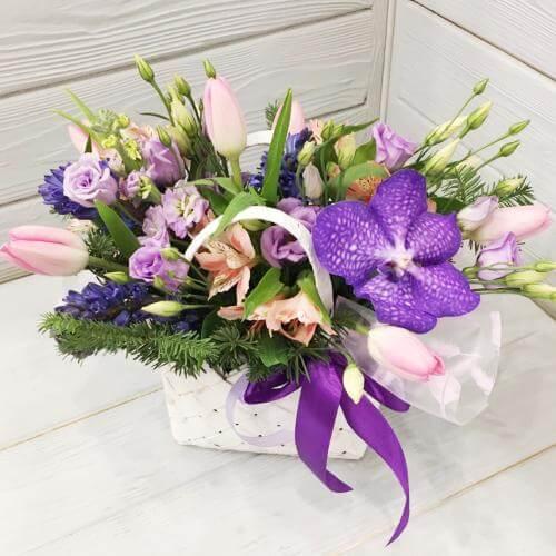 № 581  корзинка с орхидеей и гиацинтами