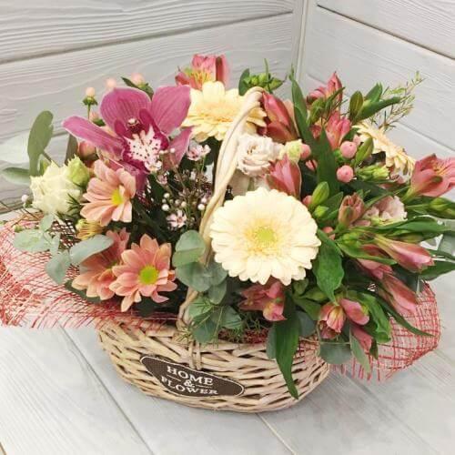 № 668 корзина с герберами и орхидеей