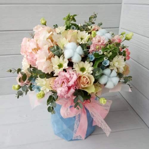 № 673 букет в шляпной коробке с гортензией,розами и хлопком