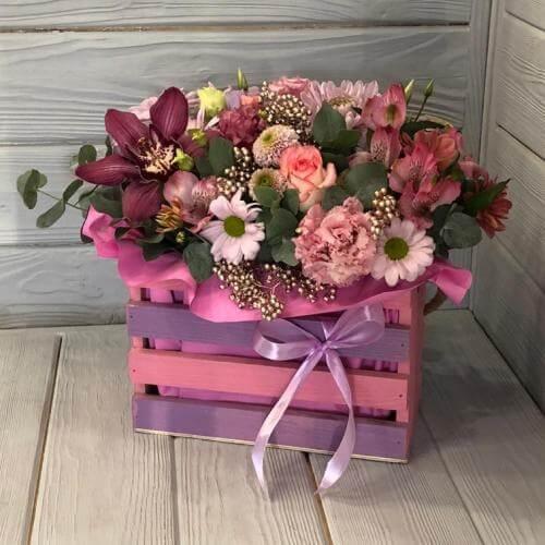 № 414 ящик с розами и орхидеей