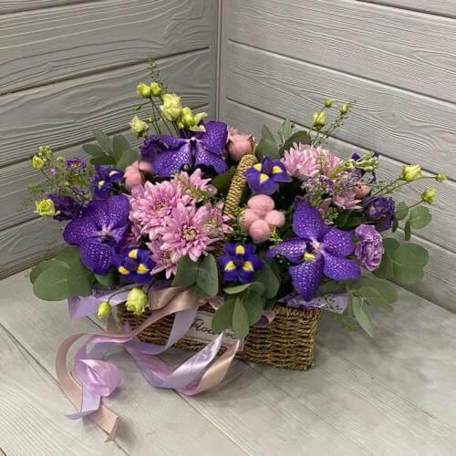№ 466 корзина с орхидеями, ирисами