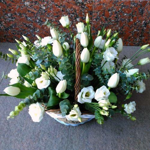 № 454 корзина с тюльпанами