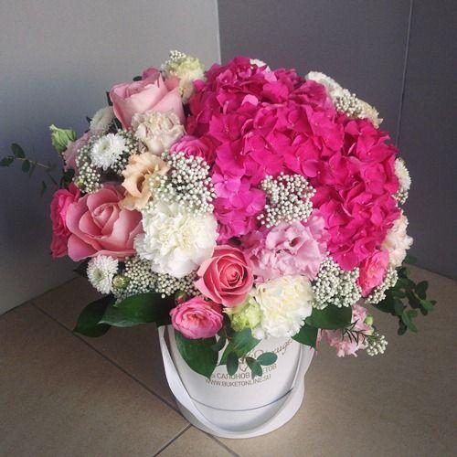 №130 букет в шляпной коробке с гортензией и розами