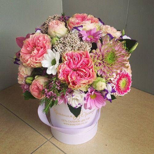 №137 букет в шляпной коробке с розой