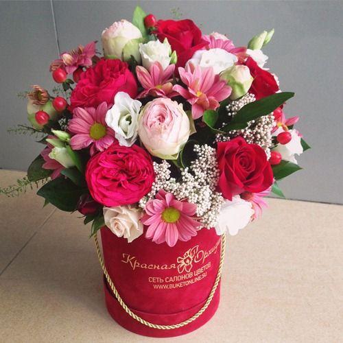 № 561  букет в шляпной коробке с пионовидной розой