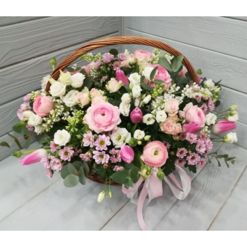 № 184 корзина с лютиками, тюльпанами