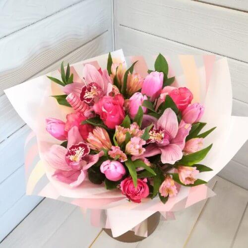 № 177 букет с орхидеями и тюльпанами