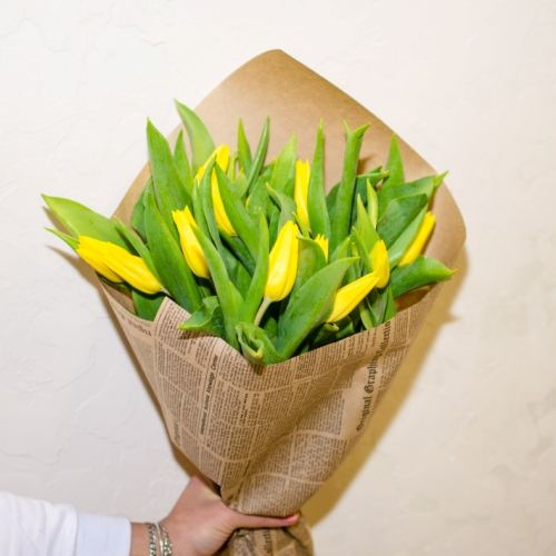 № 69 акция 15 желтых тюльпанов в упаковке