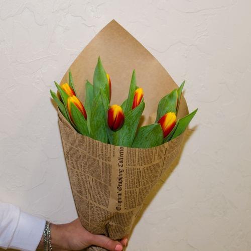 № 76 акция 7 цветных тюльпанов в упаковке