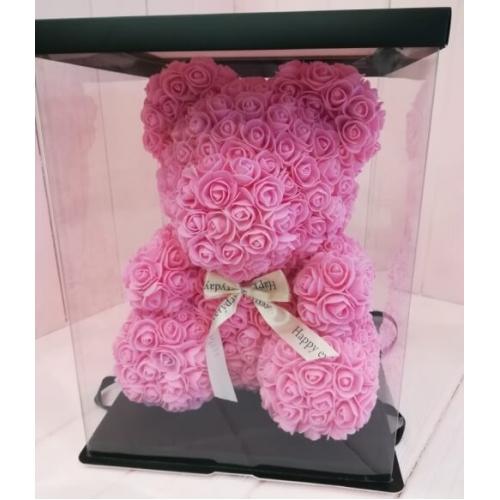 № 355 медведь из 3d роз розовый