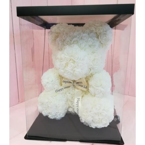 № 356 медведь из 3d роз белый